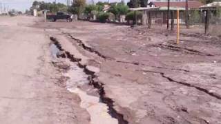 The damage in Nuevo Leon, valley of Mexicali, Mexico