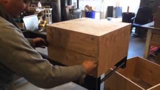 Custom Concrete Wood Slat Bench