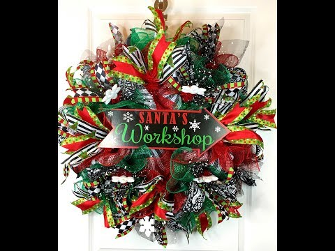 How to make a poof ruffle Christmas wreath for your door