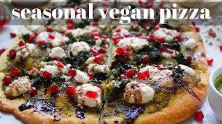 EASY CRISPY KALE PESTO PIZZA WITH TOFU RICOTTA [VEGANMAS #15] | PLANTIFULLY BASED
