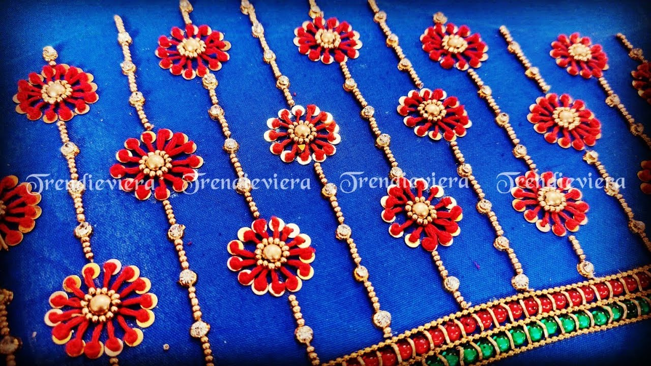 Beautiful flower french knot design using normal needle