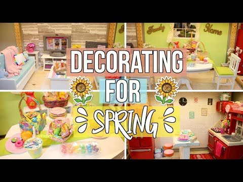 DECORATING MY DOLLHOUSE FOR SPRING/EASTER!   American Girl Dollhouse Decorating 2018