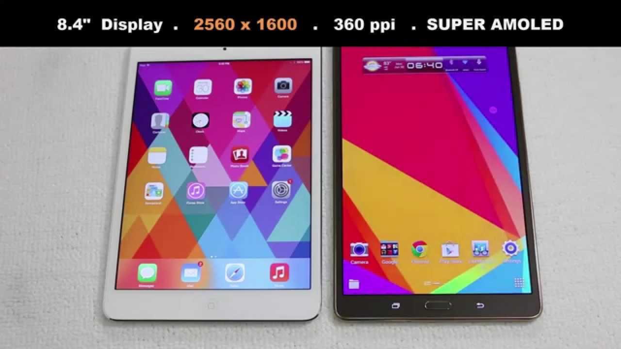 Ipad Mini 2 Retina Vs Samsung Galaxy Tab S 8 4 Full Comparison You