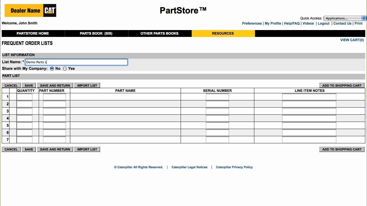 Cat PartStore - How To Save Time By Using Frequent Order List