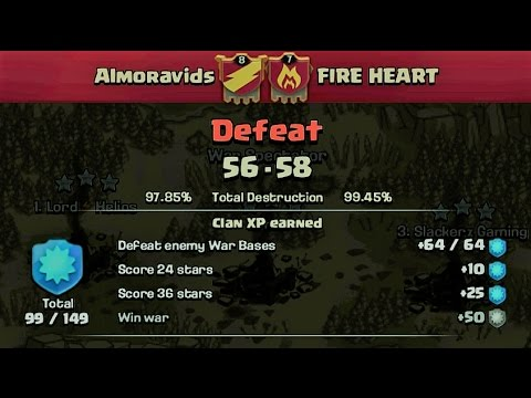 Clash of Clans- War recap Almoravids vs fire heart (#PekkaWalk)