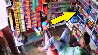 Камера сняла драматичные кадры Продавец в последний момент успел унести ноги из магазина