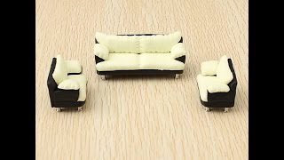 Train Scene Model Buildings Miniature Dollhouse Decoration Black Sofa Set Indoor From Banggood.com