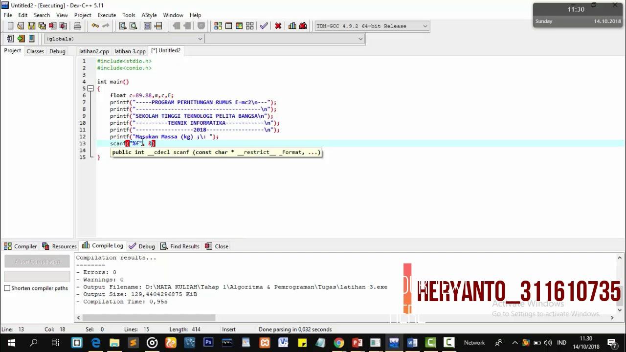Membuat Program Perhitungan E=mc2 Menggunakan Bahasa C | Heryanto |  311610735