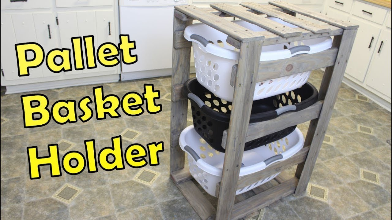 Diy Laundry Basket Holder Organizer Pallet Projects