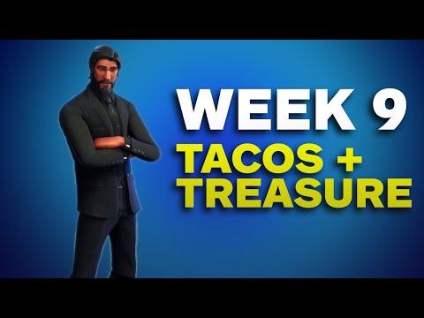 Fortnite: Taco Shops + Moisty Mire Treasure Map (Week 9 Challenges)