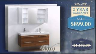 54 Inch Double Sink Bathroom Vanity With Soft Closing Drawers - Uniquevanities.com