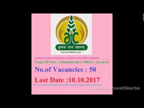 AGRICULTURE INSURANCE COMPANY  Name Of Post : Administrative Officers (Scale-I) No.of Vacancies : 50