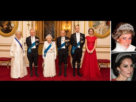 Kate Middleton wears a tiara as Queen Elizabeth spoils the ambassadors at Buckingham Palace