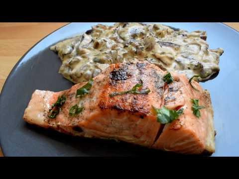 recette-de-pavé-de-saumon-à-la-crème-fraîche-et-aux-champignons