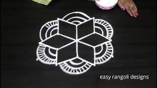 Amazing Star Rangoli And Kolam Designs With 5 Dots || Muggulu