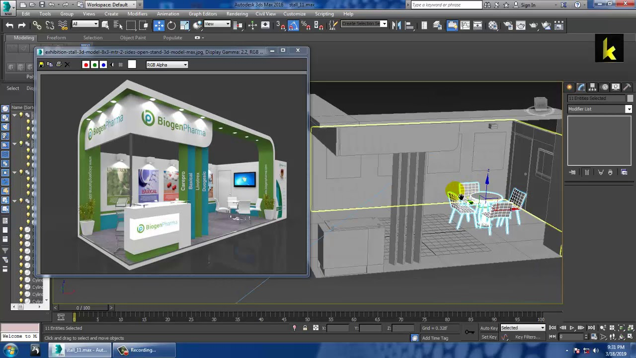 Exhibition Stall Lights : Tutorial on modeling texturing and lighting an exhibition stall