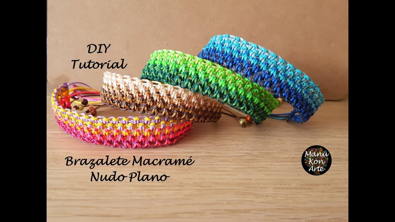 752336076f34 🌈DIY Tutorial Brazalete Macramé Nudo Plano Fácil/Macrame Cuff Flat Knot  Easy🌈