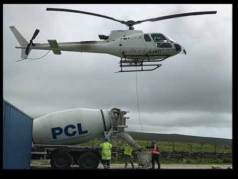 Helicopter Concrete Pouring