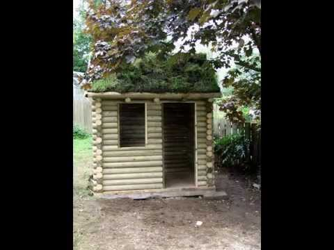 Hand Made Traditional Log Cabin Playhouse With Grass Roof Part 1wmv