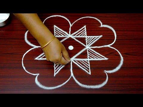simple rangoli art designs for beginners - 5x3 kolam designs for pongal - latest muggulu