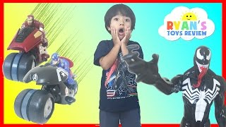 spiderman vs venom marvel superheroes avengers captain america iron man egg surprise toys kids video