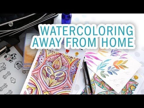 TRAVEL VLOG - Packing crafting supplies, NEW Watercolor Coloring Sheets, Visiting Lawn Fawn