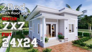 Small house Design 7x7 Meters 24x24 Feet Shed Roof 2 Beds