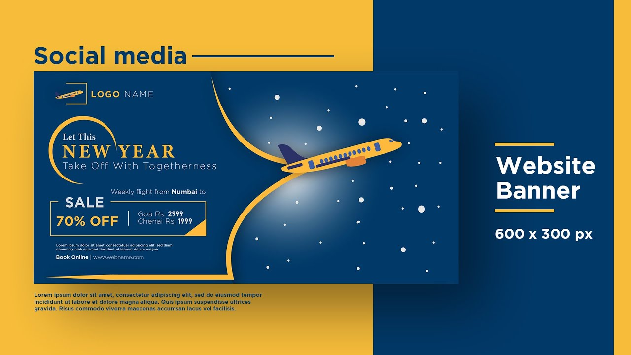 Banner Design | New year Travel Offer Banner Adobe Illustrator cc