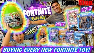 HUNTING FOR NEW TOYS AT GAMESTOP! BUYING EVERY NEW FORTNITE TOY IN THE STORE! NEW CARDS! HUGE HAUL!