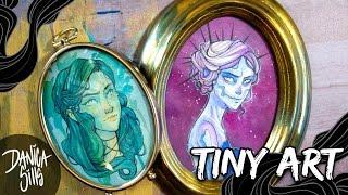 Tiny Art ♦ Magenta Skull ♦ Watercolor Speedpainting