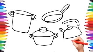 Kitchen Cooking Set How to Draw for Kids | Coloring Book Cookware with Pots and Pans for Children