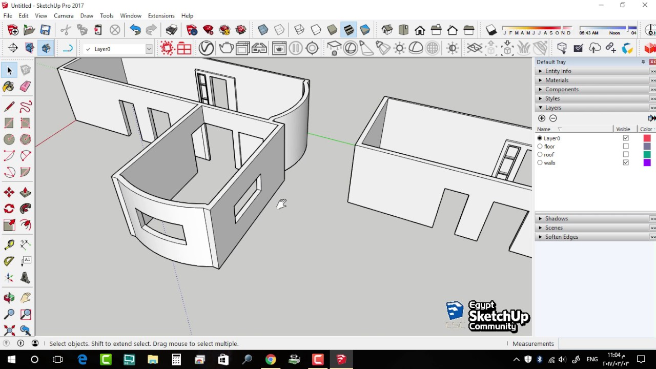 sketchup how to cut a hole in a wall