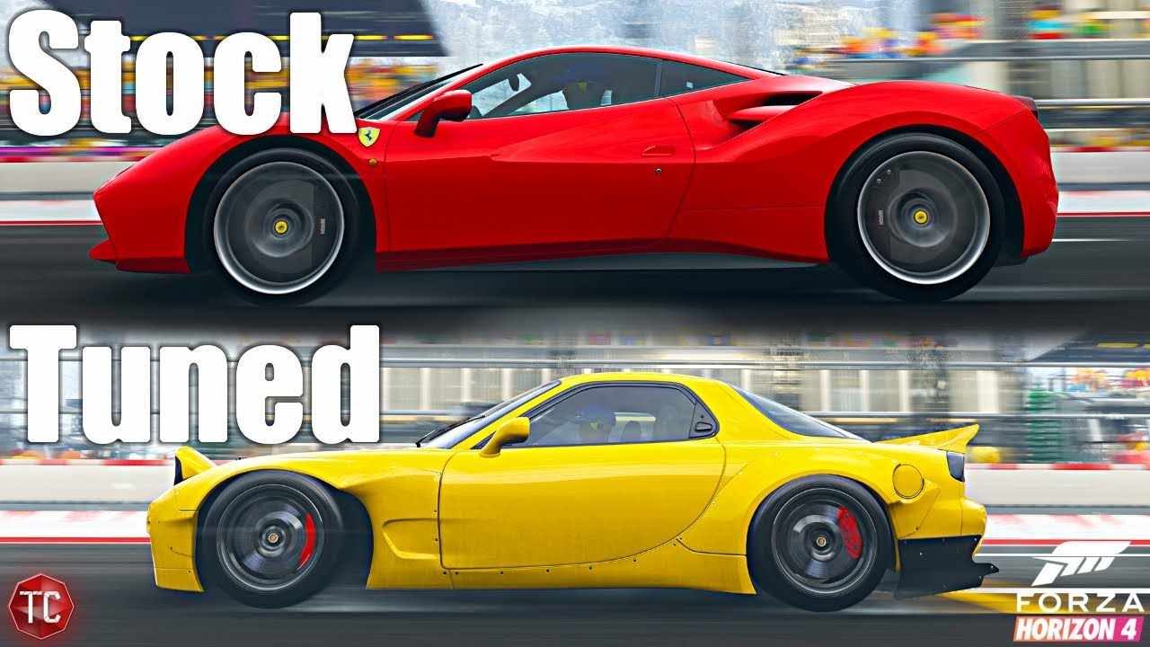 Forza Horizon 4: Stock vs Tuned! Ferrari 488 GTB vs Mazda RX7 FD