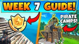 Fortnite SEMAINE 7 CHALLENGES! - Secret Battle Star, Pirate Camps (Battle Royale Saison 8 Guide)