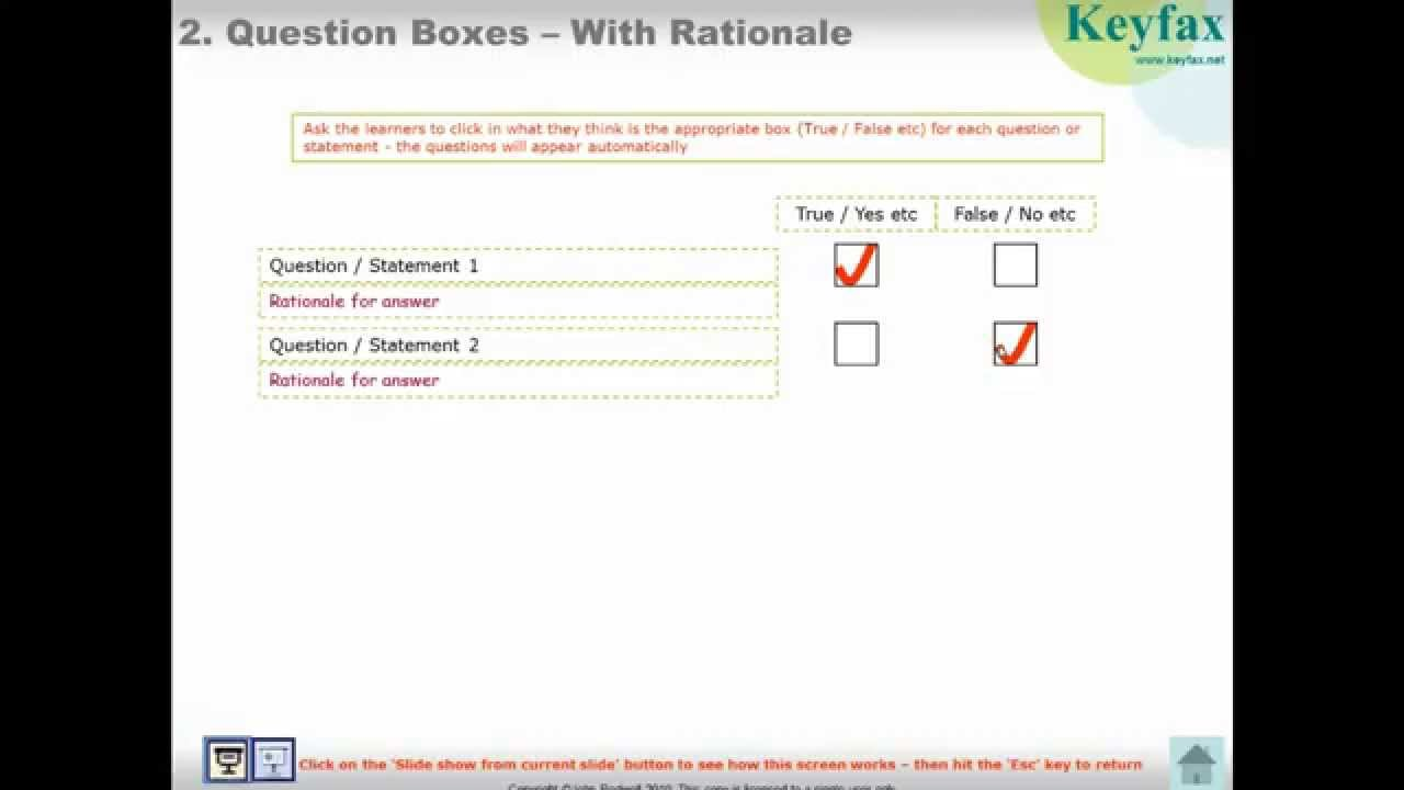Interactive Powerpoint - Template For Educational And E-Learning Use -  'question Boxes & Rationale'