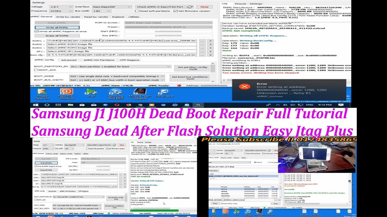 Samsung J1 J100H Dead Boot EMMC Repair Easy Jtag Plus Full Tutorial II  Samsung J100H emmc Repair
