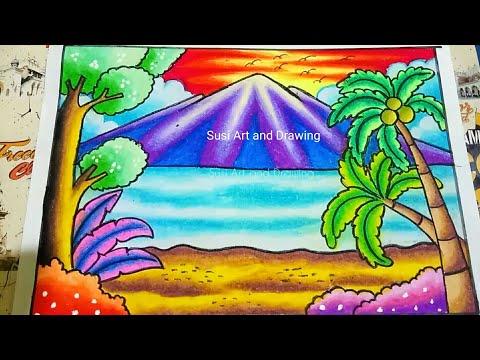Download Menggambar Dan Mewarnai Pemandangan Pantai Dengan Gradasi