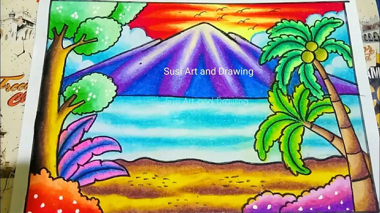 Cara Menggambar Dan Mewarnai Pemandangan Alam Pantai Dengan Gradasi Crayon