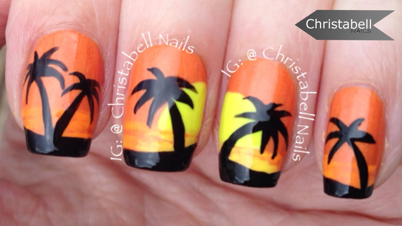 ChristabellNails Palm Tree Sunset Nail Art Tutorial - YouTube