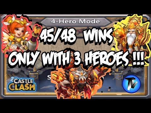 Castle Clash - Squad Showdown Setup 45/48 Wins With Only 3 Heroes !!!