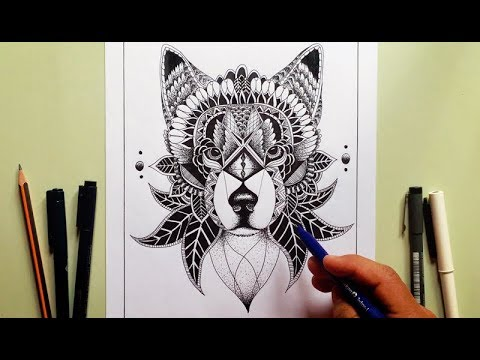 Lobo Dibujo Estilo Zentangle Osvaldo Latino Youtube