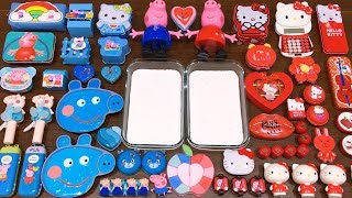Special Series #8 RED vs BLUE PEPPA PIG and HELLO KITTY | Mixing Random Things into GLOSSY Slime