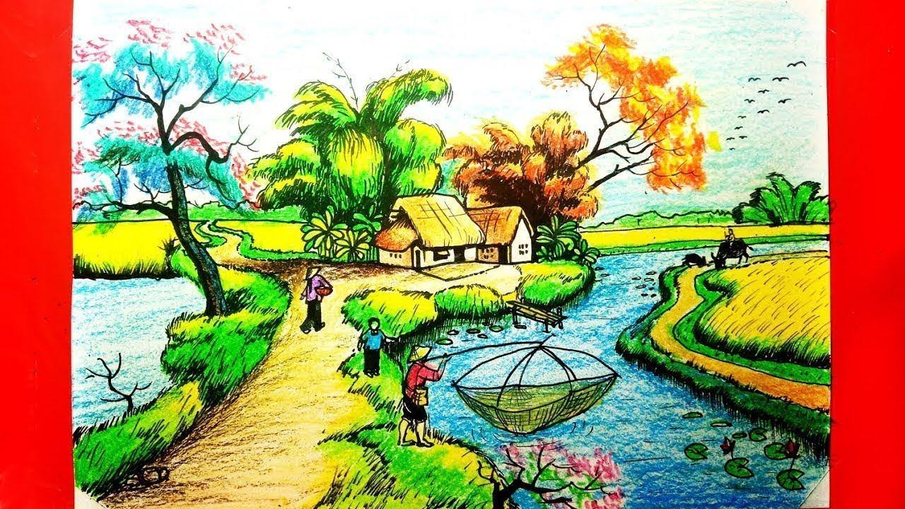 Dạy Vẽ Tranh Phong Cảnh – Cách Vẽ Tranh Phong Cảnh Quê Hương Em – Duy Hiếu Vlogs