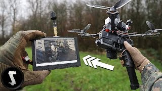 Decimating Players using Airsoft Drone with Machine Gun!