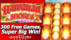 Hawaiian Shores Slot - First Look, 300+ Free Games, Super Big Win in New Konami Slot