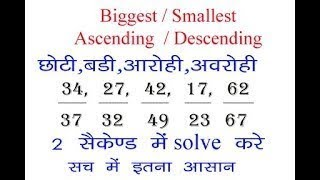 बङी और छोटी भिन्न , smallest and largest fraction tricks in Hindi