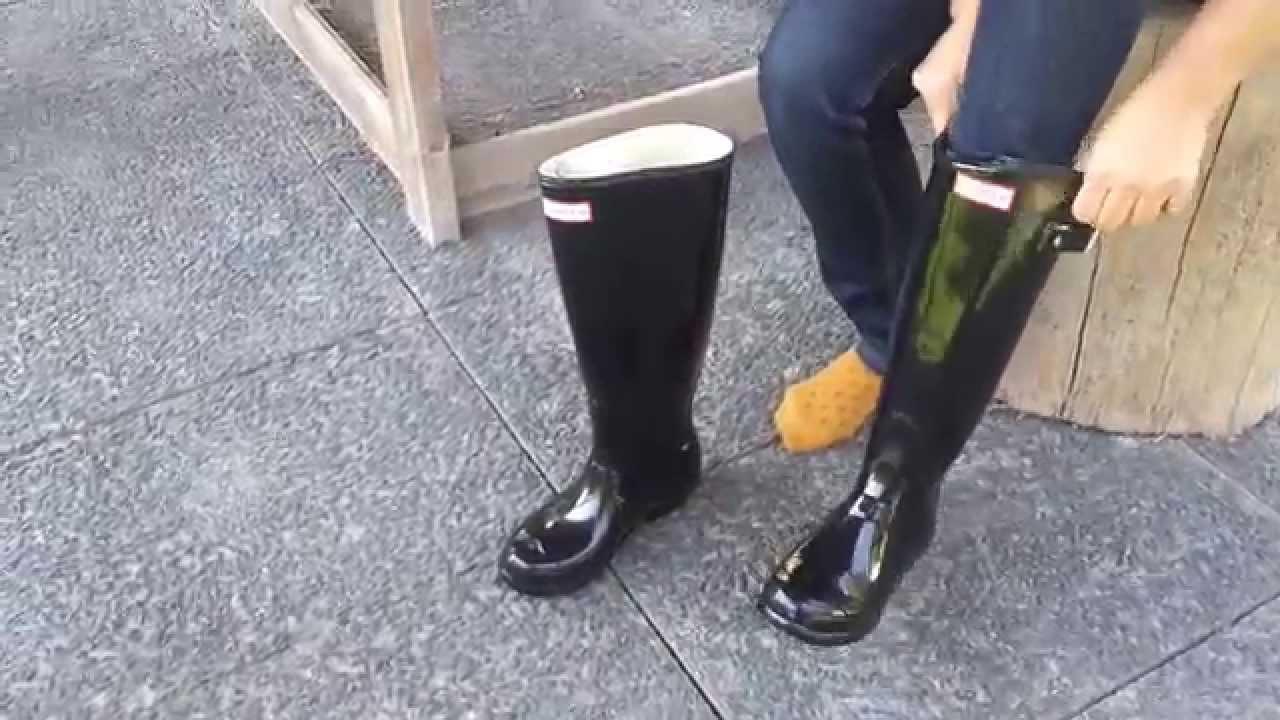 Wellies HUNTER Original Gloss Tall Feather Black w23616 - YouTube 345e63c874