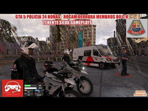 GTA 5 POLICIA 24 HORAS - ROCAM 49M DERRUBA MEMBROS DO C.V