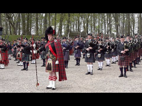 """""""Amazing Grace"""" By The Massed Pipe Bands Of The Scottish Highlands Outside Dunrobin Castle In 2019"""