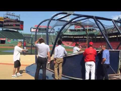 Patriots' Julian Edelman takes batting practice at Fenway Park, July 20, 2016